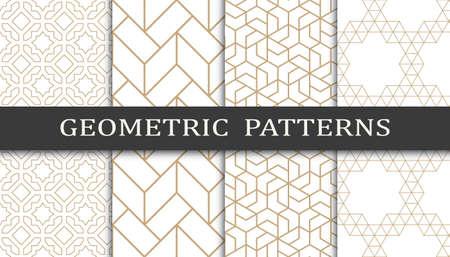 Set of geometric seamless patterns. Abstract geometric graphic design print pattern. Seamless geometric golden lines pattern. Illusztráció