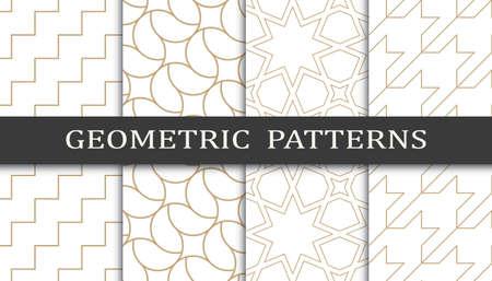 Set of geometric seamless patterns. Abstract geometric graphic design print pattern. Seamless geometric golden lines pattern. 矢量图像