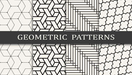 Set of geometric seamless patterns. Abstract geometric graphic design simple pattern. Seamless geometric lines pattern. Stock Illustratie