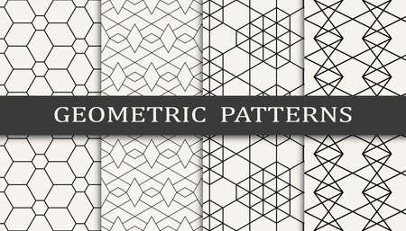 Set of geometric seamless patterns. Abstract geometric graphic design simple pattern. Seamless geometric lines pattern. Illusztráció