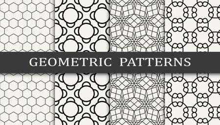 Set of geometric seamless patterns. Abstract geometric graphic design simple pattern. Seamless geometric lines pattern. 矢量图像