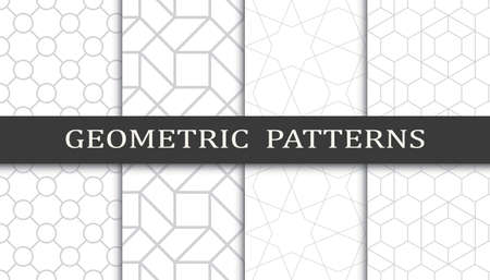 Set of geometric seamless patterns. Abstract geometric graphic design print pattern. Seamless geometric gray lines pattern.