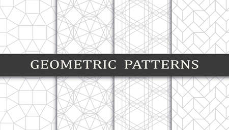 Set of geometric seamless patterns. Abstract geometric graphic design print pattern. Seamless geometric gray lines pattern. 免版税图像 - 152490524