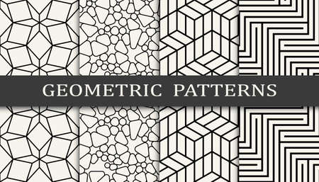 Set of geometric seamless patterns. Abstract geometric graphic design simple pattern. Seamless geometric lines pattern. 矢量图像