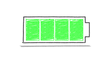 Symbol battery full crayon color style is green color. Standard-Bild
