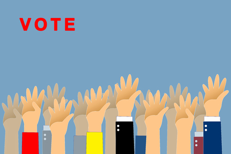Graphic hand up and vote text is red color on blue background. Graphic many people hand up with paths layer. Imagens