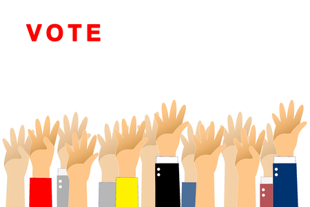 Graphic hand up and vote text is red color on white background. Graphic many people hand up with paths layer.