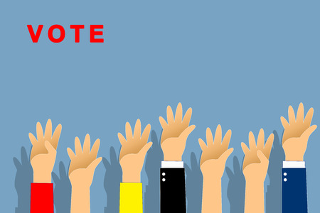 Graphic hand up and vote text is red color on blue background. Graphic many people hand up with paths layer. Stok Fotoğraf