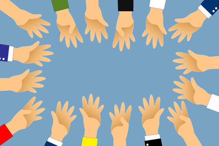 Hand up around group for vote or volunteer on blue background.