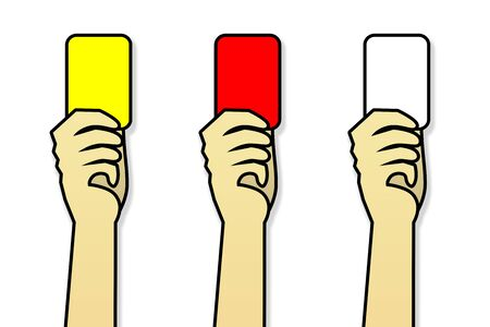 Illustration hand holding red card, yellow card and white cards isolated on white background. Football show card.Hand holding card with paths selection. Stock Photo