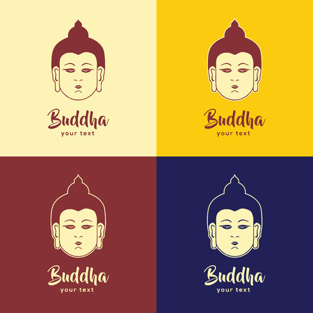 Set of four buddha head signs on colorful backgrounds with text label and descriptor