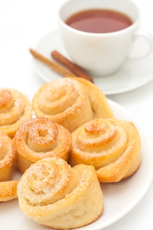 Sweet roll buns with cup of tea photo