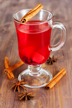 Glass of mulled wine, anse, cinnamon photo