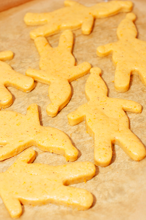 Cuted out christmas cookies photo