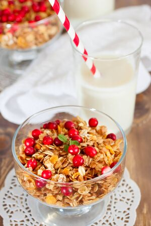 Healthy breakfast with granola and milk photo