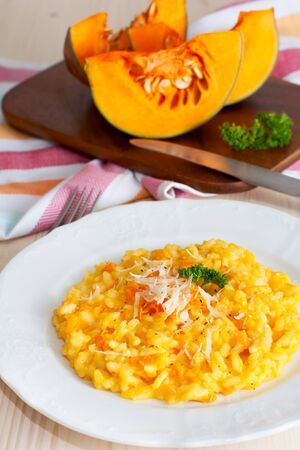 Pumpkin risotto with parmesan photo