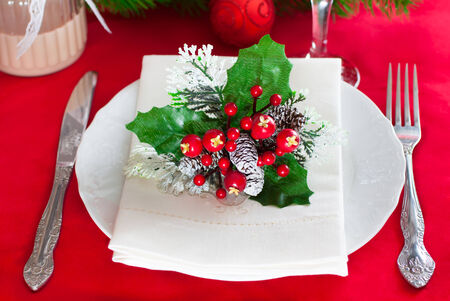 Decorated Christmas table setting photo