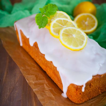 Fresh lemon pound cake with sweet lemon icing Stock Photo