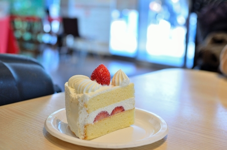 Strawberry Shortcake on the table in Cafe Stock Photo