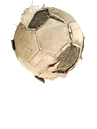 tearing down: Old classic soccer ball and dirty football of isolated on a white background