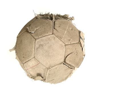 Old classic soccer ball and dirty football of isolated on a white background