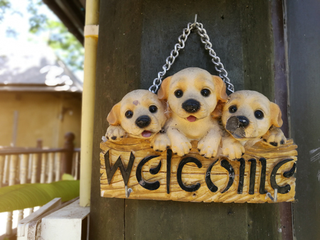 Old cute little dog holding label write WELCOME out of home