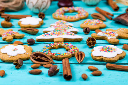 gingerbread cookies: Cookies little men on a wooden table Stock Photo