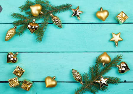 firtree: Frame from fir-tree branches and Christmas toys Stock Photo