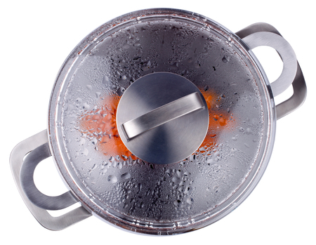 gas cooker: Top view of  double boiler for the gas cooker isolated on a white background