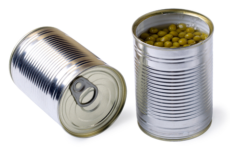 vegetable tin: Opened tin with green peas. Isolated on white background.