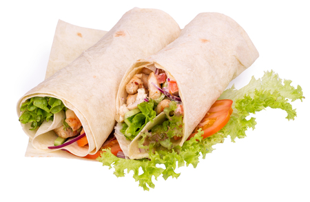doner: Shawarmas on lettuce isolated on a white background