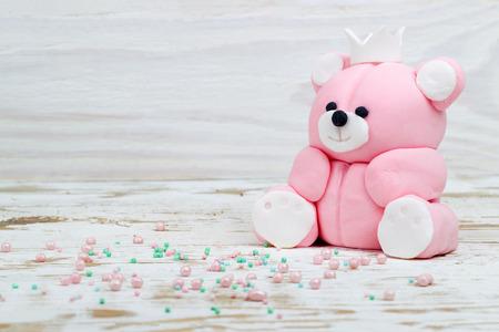 toppings: Sugar pink bear cub and toppings