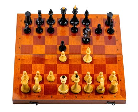chessmen: Wooden chessboard with chessmen on white background