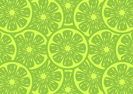 A slices of fresh Green lemon texture background pattern. Vector illustration.