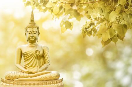 Magha Asanha Visakha プジャ日、仏像、二重露光と len フレア、ソフトイメージとソフトフォーカススタイルのボディ葉