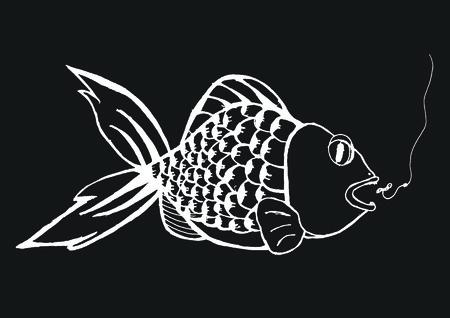 fish icon vector eps10 isolated on black illustration. Vettoriali