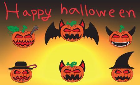 Happy haloween carved pumpkins. Vector illustration