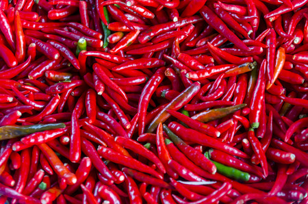 Top View Pile of Fresh Chili and Ripe Red Hot Chili in The Basket