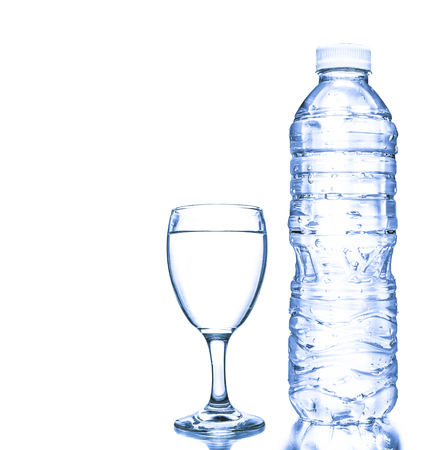 blue water glass and bottles isolated on white background