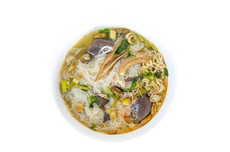 Instant noodle Hot food on isolated background - Image
