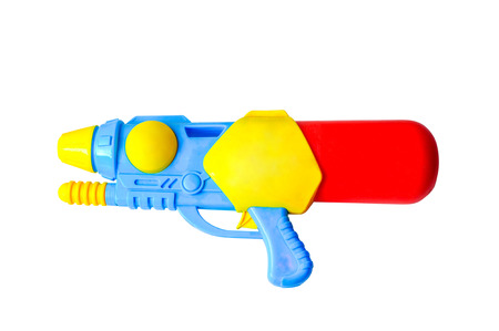 Water gun Plastic summer toy isolated on white background.