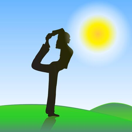 silhoette: silhouette of a girl who practices yoga outdoors