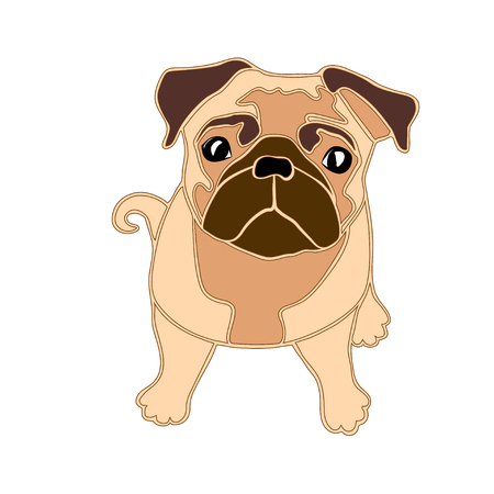 pug dog: Beige pug dog sitting, isolated illustration on white
