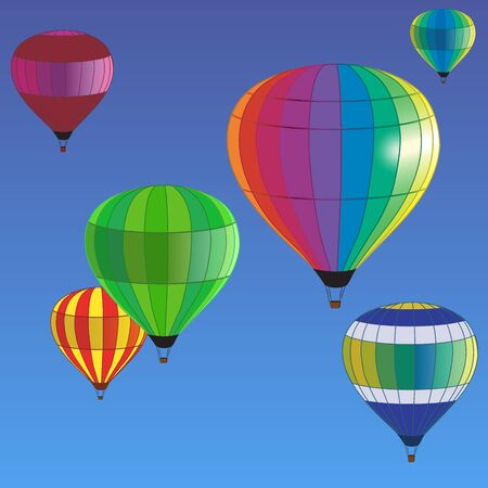 adventure aeronautical: multicolored hot air balloons fly in the blue sky Illustration