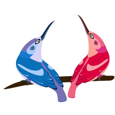 beaks: two birds on branch, blue and pink, with long beaks