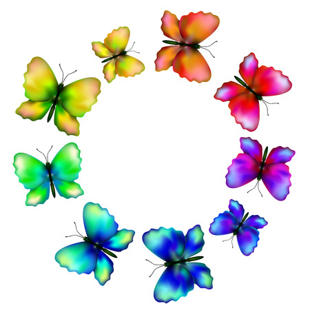 iridescent: iridescent butterflies fly in a circle, isolated illustration