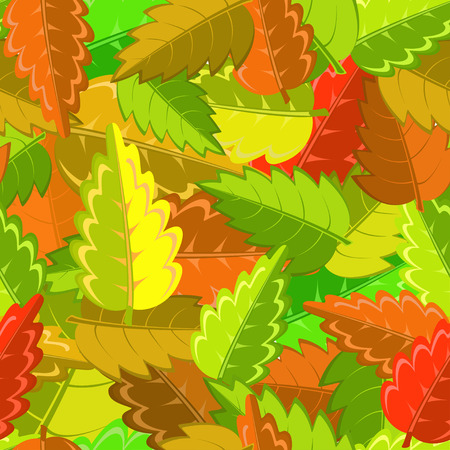 hintergrund gr�n gelb: hell herbst Muster mit gr�n, gelb, braun und rote Bl�tter