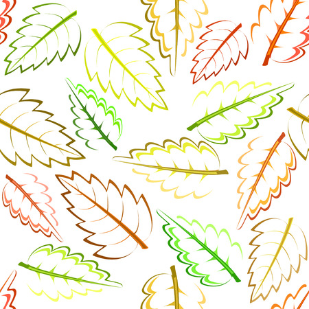 bright autumn pattern with green, yellow, brown and red leaves