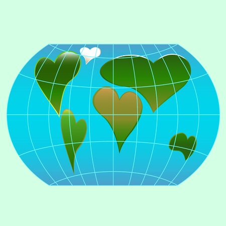 meridians: A world globe with continents in the shape of a heart symbols