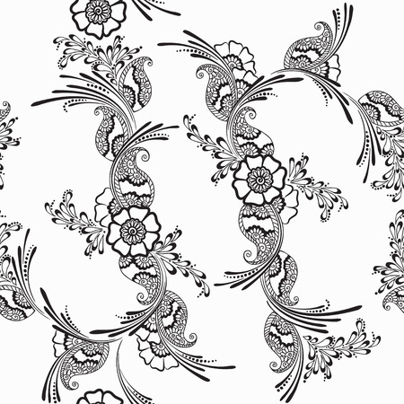 fabric art: black and white floral pattern, isolated illustration